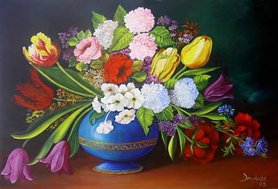 Flowers In A Vase Art Print by Dominica Alcantara