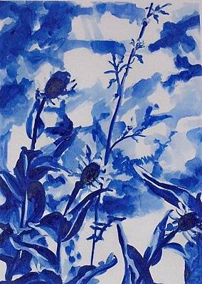 Painting - Flowers In Blue by Liz Adkinson
