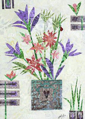 Mixed Media - Flowers In Box With Heart by Janyce Boynton