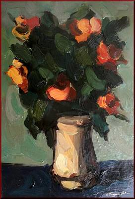 A Summer Evening Landscape Painting - Flowers by Lia Togniocchi