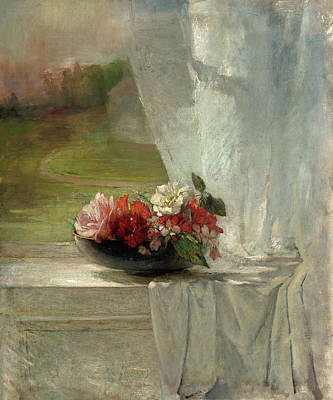 Painting - Flowers On A Window Ledge by John La Farge