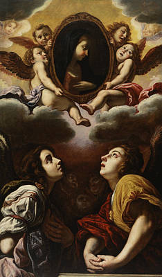 Painting - Flying And Adoring Angels by Domenico Fetti