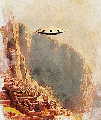 Science Fiction Royalty-Free and Rights-Managed Images - Flying Saucer - Machu Picchu by Raphael Terra