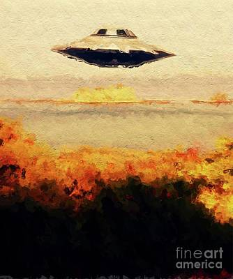 Science Fiction Royalty-Free and Rights-Managed Images - Flying Saucer by Raphael Terra