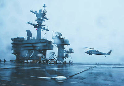 Photograph - Foggy Landing - U S S Abraham Lincoln by U S Navy