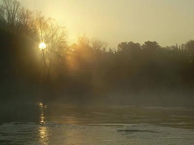 Photograph - Foggy Mississippi River Sunrise by Kent Lorentzen