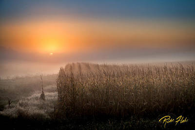 Photograph - Foggy Sunrise Over Mn Cornfields by Rikk Flohr
