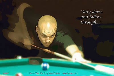 Pool Stick Digital Art - Follow Through by Max Eberle