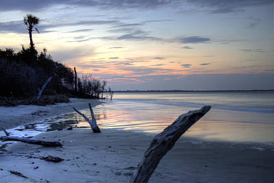 Folly Beach At Dusk Art Print
