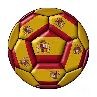 Digital Art - Football Ball With Spanish Flag by Michal Boubin