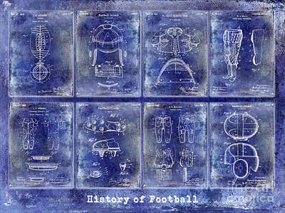 Football Patent History Blue Art Print