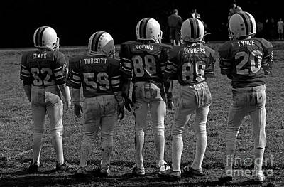Photograph - Football Team Kids On Sideline by Jim Corwin