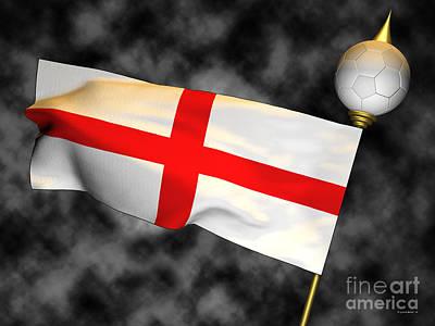 Large Digital Art - Football World Cup Cheer Series - England by Ganesh Barad