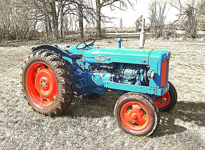Old Farm Equipment Painting - Fordson Vintage Tractor by Elaine Plesser