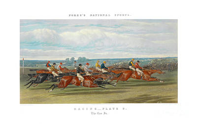 Horse In The Run Painting - Fores's National Sports - The Run In. by John Frederick Herring