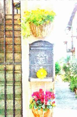 Photograph - Formello Mailbox With Flower Pot by Giuseppe Cocco