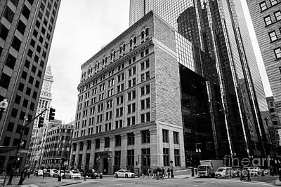 Exchange Place Photograph - former boston stock exchange building facade to exchange place Boston USA by Joe Fox