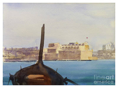 Painting - Fort St Angelo by Godwin Cassar