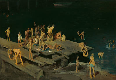 Boys Swimming Painting - Forty-two Kids by Mountain Dreams