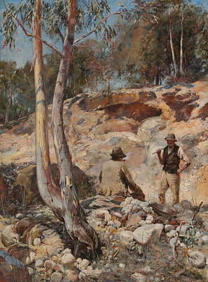 Australian Landscape Painting - Fossickers  by Walter Withers