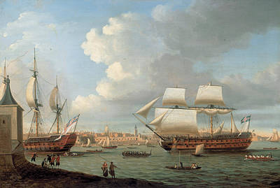 Painting - Foudroyant And Pegase Entering Portsmouth Harbour by Dominic Serres