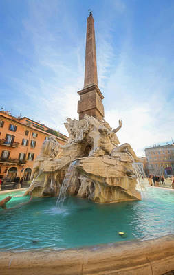 Farm Life Paintings Rob Moline - Fountain of the Four Rivers Rome Italy II by Joan Carroll