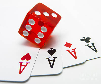 Chip Photograph - Four Aces And Gambling by Bernard Jaubert