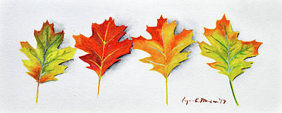 Painting - Four Autumn Leaves by Lynn Hansen