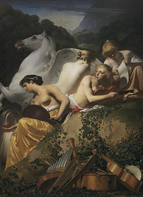 Pegasus Painting - Four Muses And Pegasus by Caesar van Everdingen