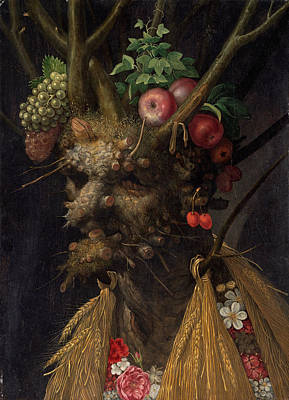 Giuseppe Arcimboldo Painting - Four Seasons In One Head by Giuseppe Arcimboldo