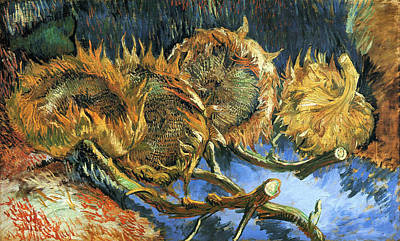 Post-impressionist Painting - Four Sunflowers Gone To Seed by Vincent van Gogh