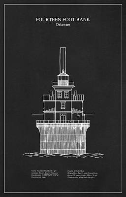 Drawing Digital Art - Fourteen Foot Bank Lighthouse - Delaware - Blueprint Drawing by Jose Elias - Sofia Pereira