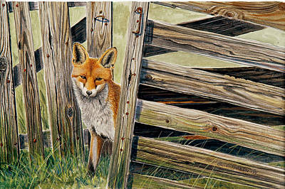Fox Painting - Fox At The Gate by Dag Peterson