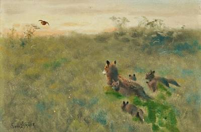 The Tiger Hunt Painting - Fox Family On The Hunt by Bruno Liljefors
