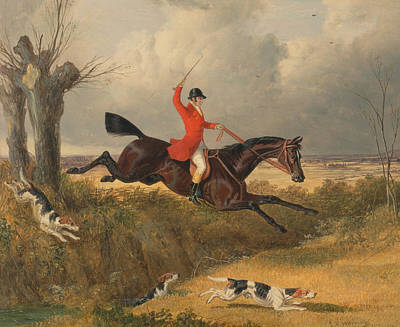 Painting - Foxhunting - Clearing A Ditch by Treasury Classics Art