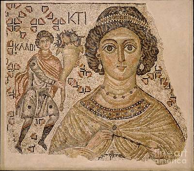 Painting - Fragment Of A Floor Mosaic With A Personification Of Ktisis by Celestial Images