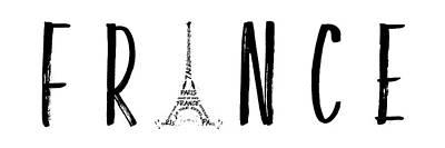 France Typography Panoramic Art Print by Melanie Viola