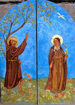 Painting - Francis And Claire Triptych by Sarah Hornsby