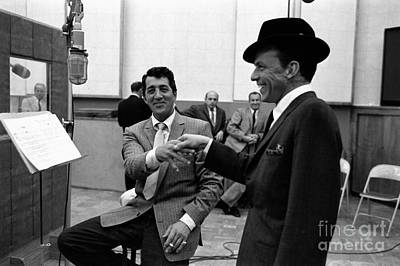 Frank Sinatra And Dean Martin At Capitol Records Studios 1958. Art Print