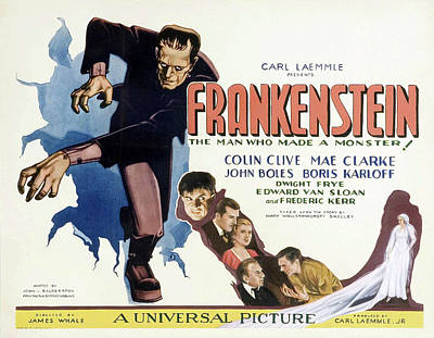 Classic Film Star Mixed Media - Frankenstein 1931 by Mountain Dreams