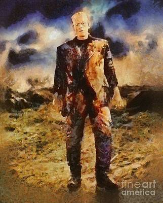 Mummies Painting - Frankenstein, Classic Vintage Horror by Mary Bassett