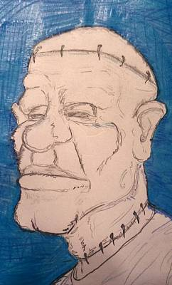 Drawing - Frankenstein's Nephew's Orthodontist's Cousin Phil. by Yshua The Painter