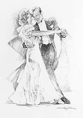 Ballroom Drawing - Fred And Ginger Top Hat by David Lloyd Glover