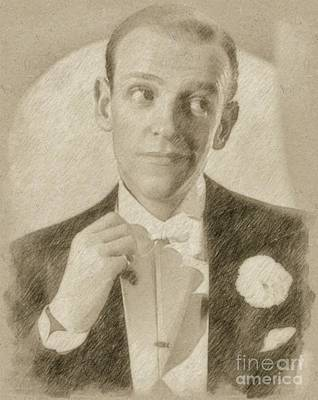 Music Legend Drawing - Fred Astaire Hollywood Legend by Frank Falcon
