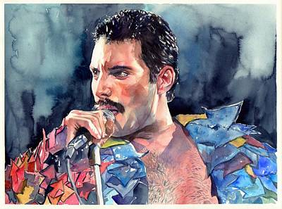Song Wall Art - Painting - Freddie Mercury Portrait by Suzann's Art