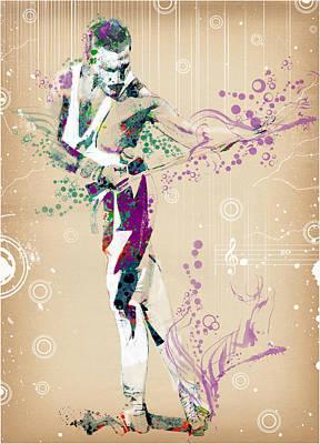 British Rock Band Painting - Freddie Mercury Vintage 2 by Bekim Art