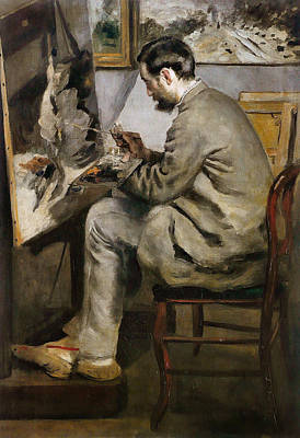 Atelier Painting - Frederic Bazille Painting At His Easel by Pierre-Auguste Renoir