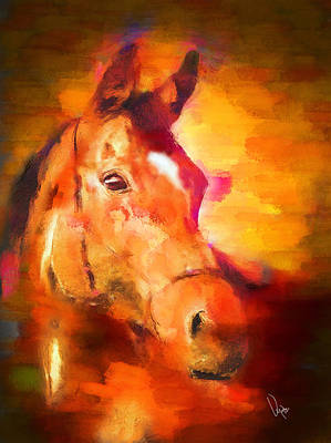 Brown Horse Painting - Free Sprit by Vya Artist