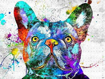 Abstract Of Dogs Mixed Media - French Bulldog Grunge by Daniel Janda