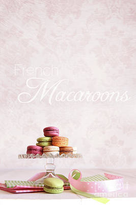 French Macaroons On Dessert Tray Art Print